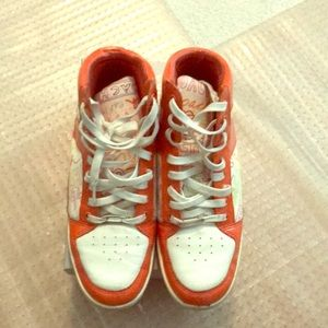 Coach white and orange high top sneakers